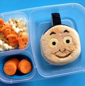 Book Themed Food - Thomas the Tank Engine Book Bento Lunch for World Book Day from Eats Amazing UK - making healthy food fun for kids!