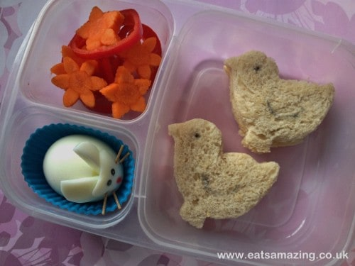 Easter Lunch Ideas with a bunny boiled egg, Easter chick sandwiches, and flower veggies