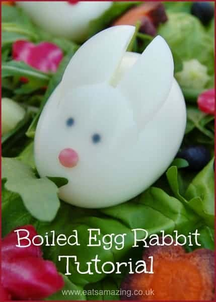 How to make a cute boiled egg rabbit using just a sharp knife and food marker pens - great healthy Easter food idea for kids from Eats Amazing UK