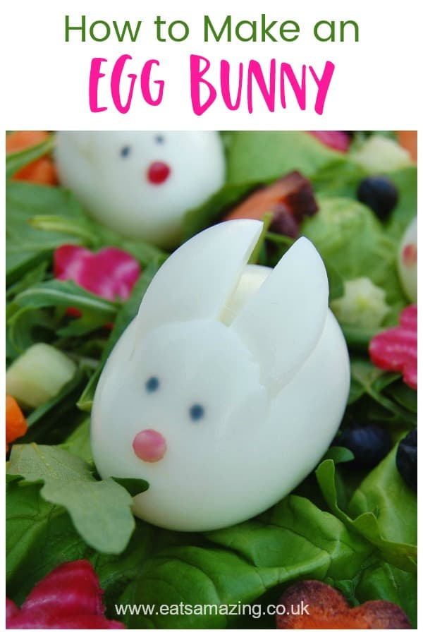 How to make cute and easy boiled egg bunny rabbits - healthy fun food idea for kids that is perfect for Easter - with video tutorial #EatsAmazing #EasterFood #KidsFood #FoodArt #funfood #healthykids #eggs #EasterFun #Easter #eggsalad #edibleart #easterbunny #easteregg