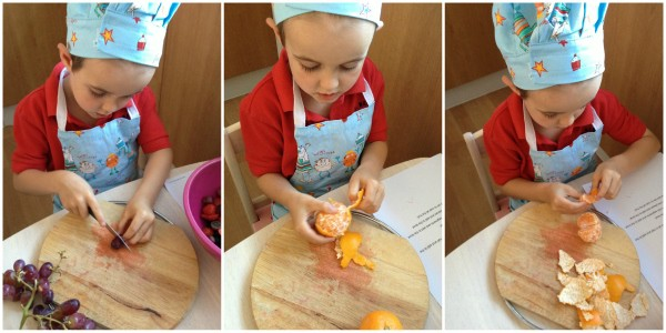 Cooking with Small Child - Simple Fruit Salad Step 2