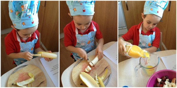 Cooking with Small Child - Simple Fruit Salad Step 3