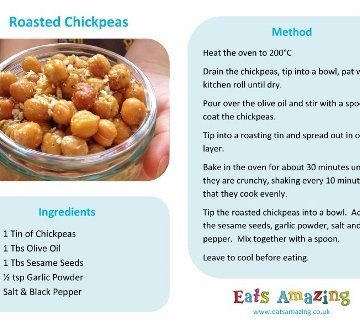 Easy Recipes for Kids - Roasted Chickpeas with free printable recipe sheet so kids can cook themselves - great healthy snack idea