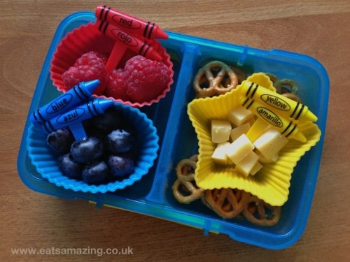 Eats Amazing - Colour Coded Snack Ideas - Raspberries, Blueberries, Cheese Cubes & Mini Pretzels