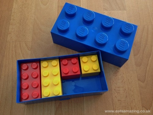 Eats Amazing - Lego Lunchbox Review - showing size of mini snack boxes