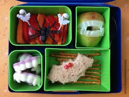Eats Amazing - Halloween Themed Bento Lunch with Bat Sandwiches