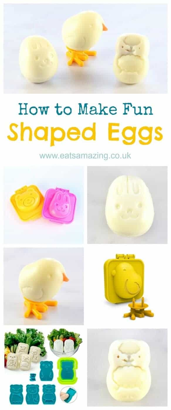 How to make cute and easy fun shaped boiled eggs using egg moulds - fun food tutorial from Eats Amazing UK - healthy fun food for kids - perfect for Easter