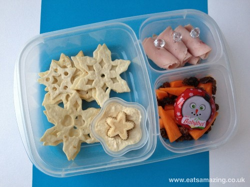 Eats Amazing - Snow themed lunch with snowflake shaped tortilla crisps