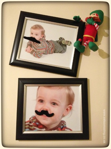 Elf decorates photos with fake moustaches and wears one himself #elfontheshelf #christopherpopinkins