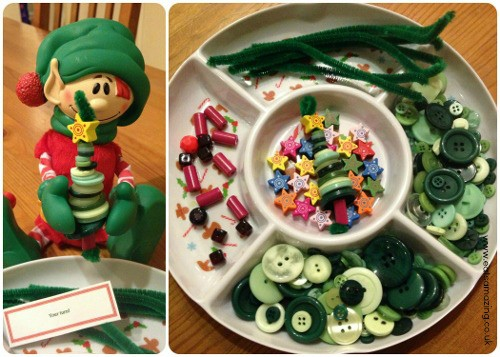 Elf makes a button Christmas tree and leaves out craft supplies with a note - Your Turn
