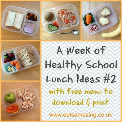 Eats Amazing - A second week of healthy balanced packed lunch ideas with free downloadable menu