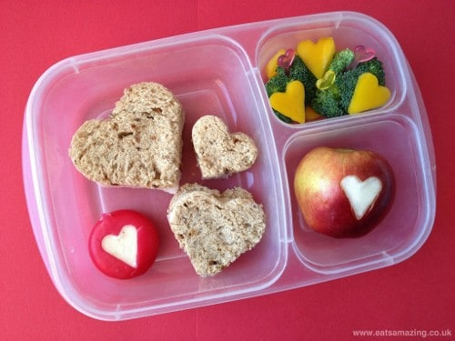 Eats Amazing - Heart themed lunch with heart shaped sandwiches - use cookie cutters to make fun shapes