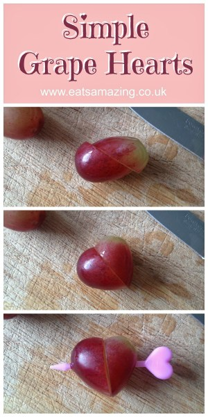 Eats Amazing - Turn grapes into hearts for a cute valentines day snack