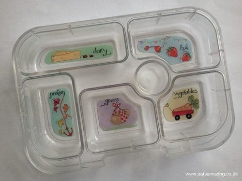 Eats Amazing - Yumbox review - removable inner tray with food group compartments
