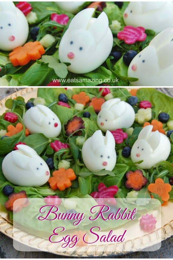 Cute Easter bunny egg salad recipe - fun and healthy Easter food for kids #EatsAmazing #EasterFood #KidsFood #FoodArt #funfood #healthykids #eggs #EasterFun #Easter #eggsalad #edibleart #easterbunny #easteregg