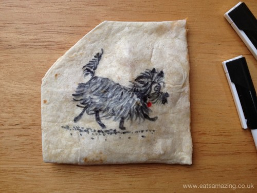 Eats Amazing - Hairy Maclary quesadilla art for World Book Day