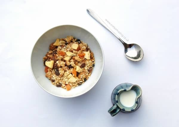 Eats Amazing - Ideas for healthy breakfasts that are all free from refined sugar - homemade granola with dried fruit of your choice