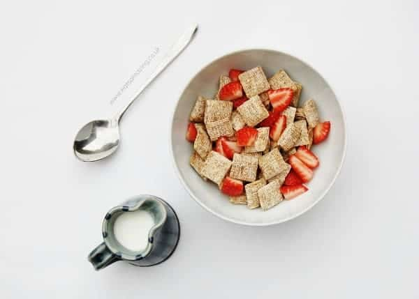 Eats Amazing - Ideas for healthy breakfasts that are all free from refined sugar - mini shredded wheats with strawberries