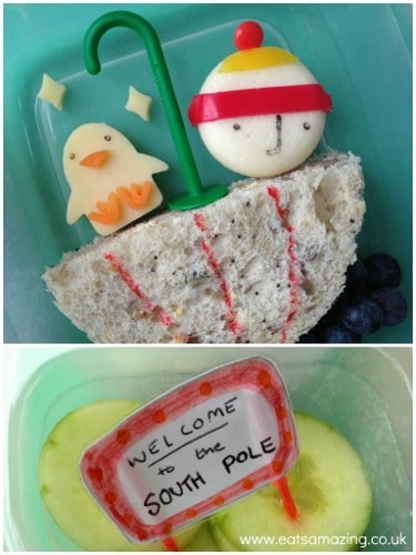 Eats Amazing - Lost and Found themed lunch with Babybel Boy and cheese penguin
