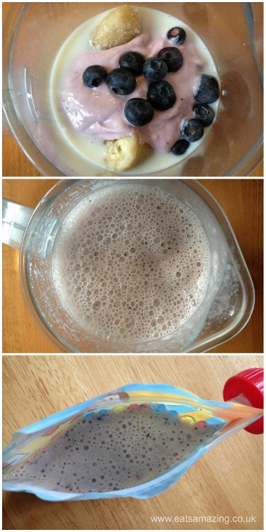 Eats Amazing - Make homemade milkshake and freeze in reusable pouches for lunch boxes