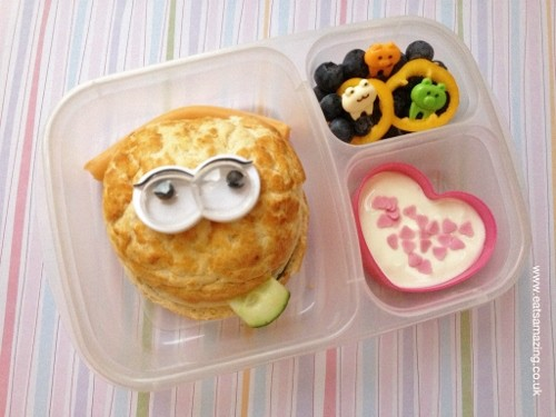 Packed lunch with googly eyed roll