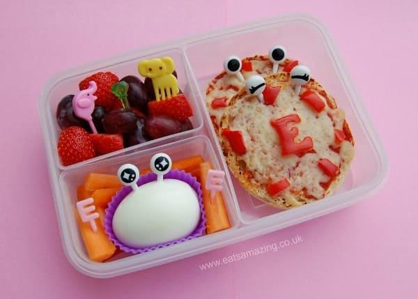 Eats Amazing - Alphabet Themed Kids Bento Lunches - E is for Egg Eyes Elephant Emerald