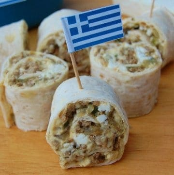 Eats Amazing - Greek Lamb and Feta Spirals Recipe with Warburtons Wraps