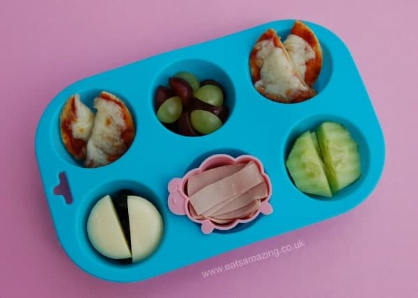 Eats Amazing - Muffin Tin Meal for Small Baby with mini naan bread pizzas