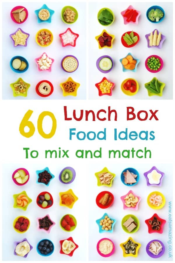 60 Lunchbox food ideas to mix and match - easy healthy packed lunch ideas for kids lunch boxes and bento boxes to get you ready for back to school #schoollunch #bento #kidslunch #lunchideas #lunch #lunchtime #lunchboxideas #healthykids #kidsfood #backtoschool