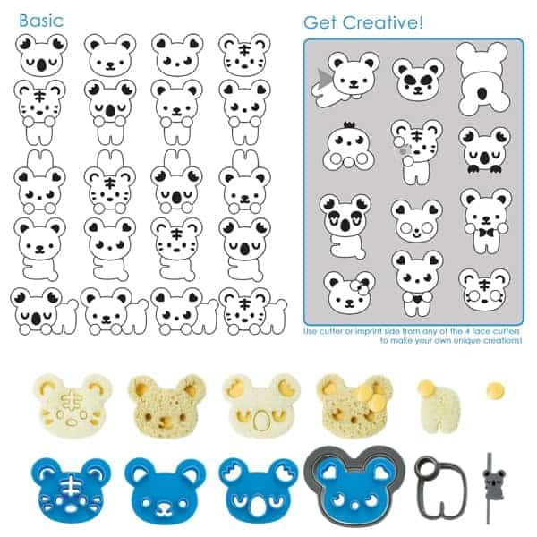 CuteZcute Cuddle Palz Cutter Kit - Over 40 combinations - available in the UK from the Eats Amazing Bento Shop