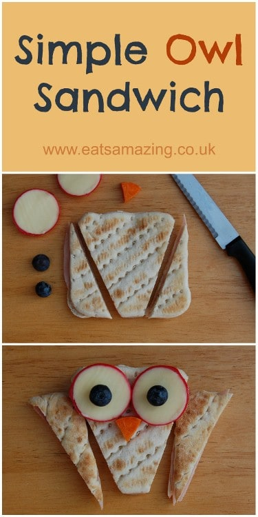 Eats Aamazing - How to make a simple owl sandwich using a Warburtons sandwich thin