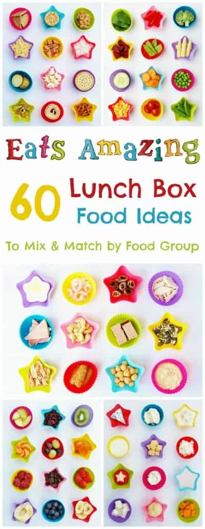 Eats Amazing - 60 different lunch box food ideas to mix and match by food category - over 200,000 combinations to keep you school lunches interesting all year