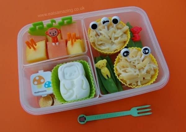 Eats Amazing - Alphabet Themed Kids Bento Lunches - M is for Macaroni Mozzarella Monsters Mange Tout Monkey Mushroom Marshmallow Money Melon Mango Music