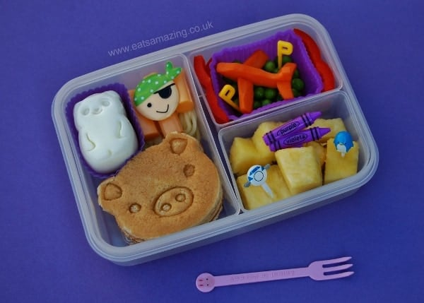 Eats Amazing - Alphabet Themed Kids Bento Lunches - P is for Panda Pig Pancake Pirate Plane Peas Pepper Pinapple Purple Penguin Pink
