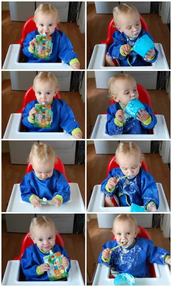 Eats Amazing UK - Nom-Nom Kids reusable food pouches vs a bowl and spoon - no contest when it comes to avoiding mess