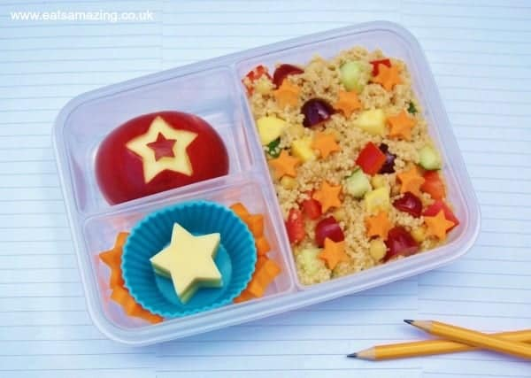 Eats Amazing UK - Simple star themed bento lunch box with fruity couscous salad for the Organix No Junk Lunch box campaign