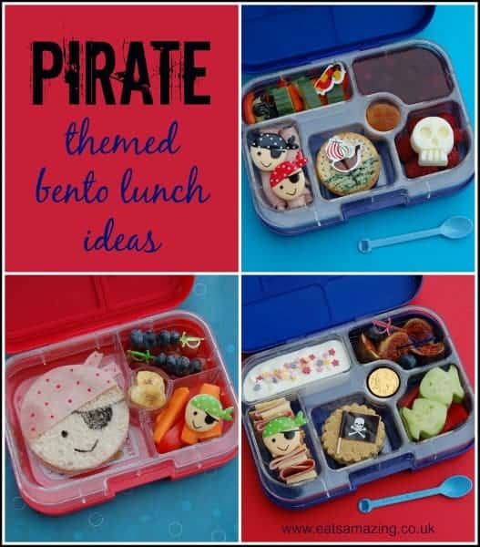 Eats Amazing UK - 3 Pirate Themed bento lunch ideas in the Yumbox