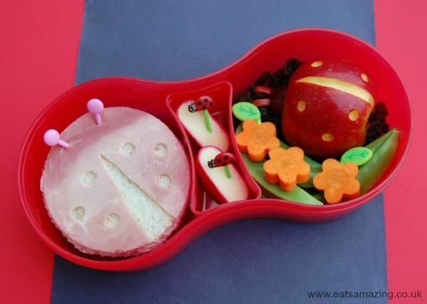 Eats Amazing UK - Ladybird themed bento lunch in the TUMTUM BUGS lunch set with ladybird sandwich and ladybird carved apple