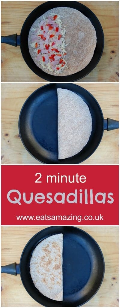 Eats Amazing UK - Super fast quesdailla recipe - great for using up odds and ends of food or scraps from making bento lunches