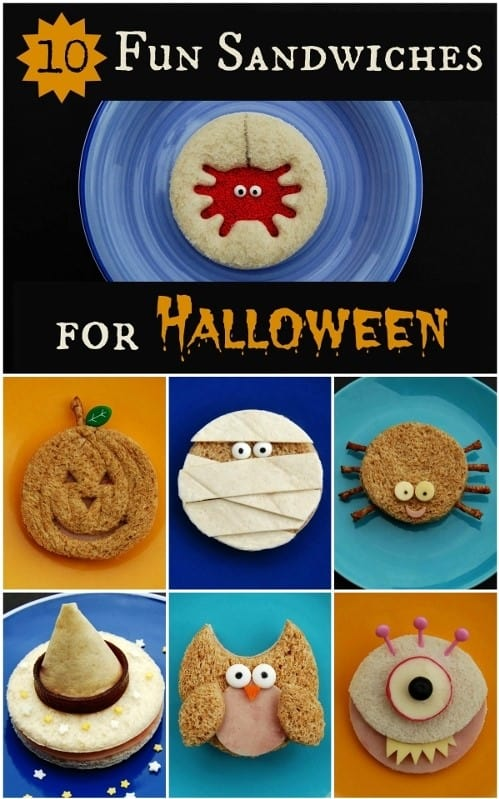 10 Fun Sandwich Ideas for kids this Halloween - great for spooky themed school lunches and healthy Halloween party food #EatsAmazing #Halloween #Halloweenparty #partyfood #kidsfood #funfood #sandwiches #foodart #edibleart