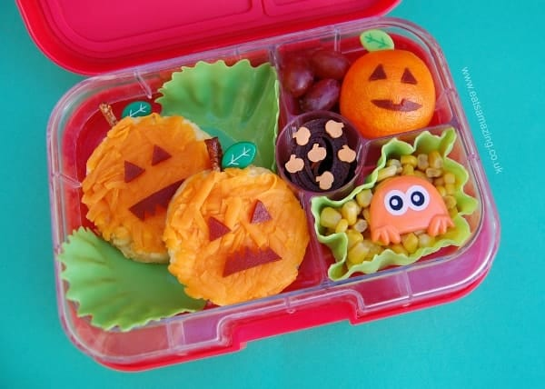 Easy Pumpkin Themed Halloween Bento Lunch from Eats Amazing UK