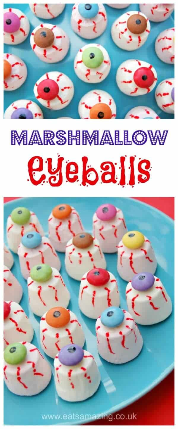 Easy marshmallow eyeballs recipe - fun Halloween food for kids - perfect for creepy Halloween party food - Eats Amazing UK