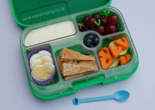 Eats Amazing - Alphabet Themed Kids Bento Lunches -V is for Vanilla Yoghurt grapes on the Vine Vampire Teeth Pitta Pieces Violet Silicone Cup