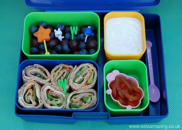 Eats Amazing - Alphabet Themed Kids Bento Lunches - W is for Wholemeal Wrap Whirls Wooly Sheep Worms White Yoghurt Wand White Rabbit Whale