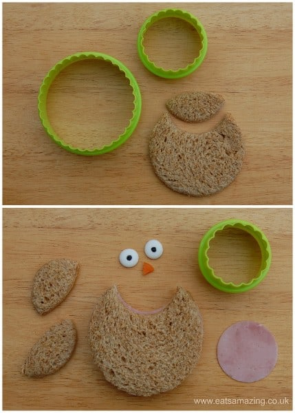 Eats Amazing UK - 10 Fun Sandwich Ideas for the Kids this Halloween - How to make an owl using nesting circle cutters