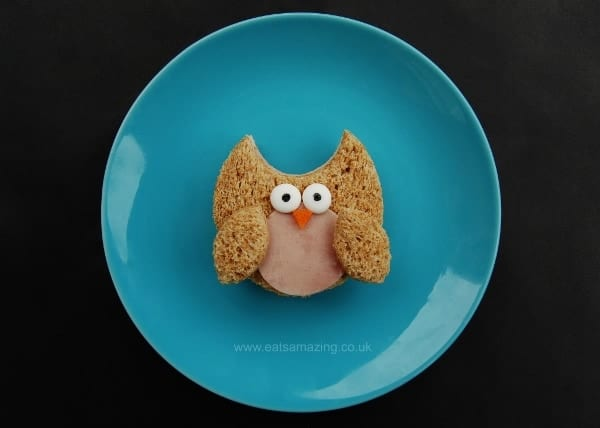 Eats Amazing UK - 10 Fun Sandwich Ideas for the Kids this Halloween - Owl Sandwich