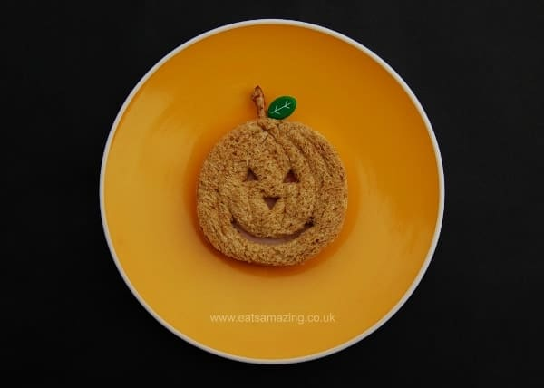 Eats Amazing UK - 10 Fun Sandwich Ideas for the Kids this Halloween - Pumpkin Jack O Lantern Sandwich