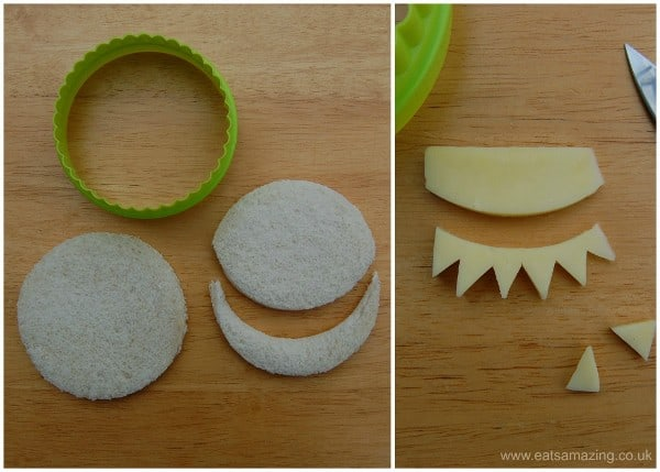 Eats Amazing UK - 10 Fun Sandwich Ideas for the Kids this Halloween - Simple Monster Sandwich using circle cutters