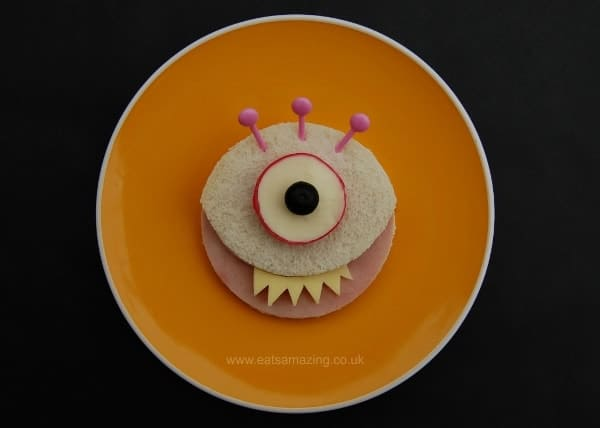Eats Amazing UK - 10 Fun Sandwich Ideas for the Kids this Halloween - Simple Monster Sandwich