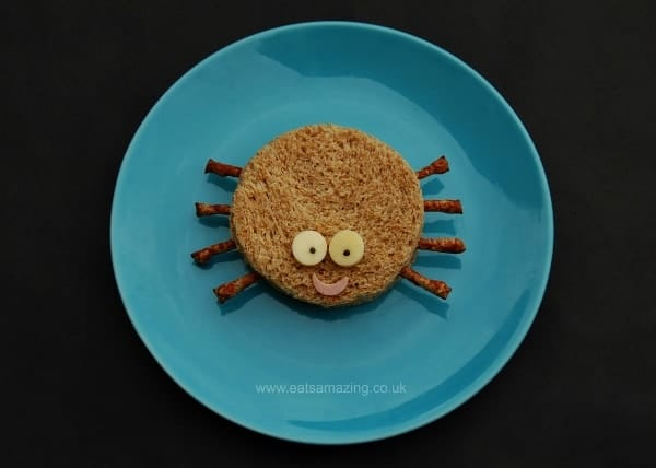Eats Amazing UK - 10 Fun Sandwich Ideas for the Kids this Halloween - Simple Spider Sandwich